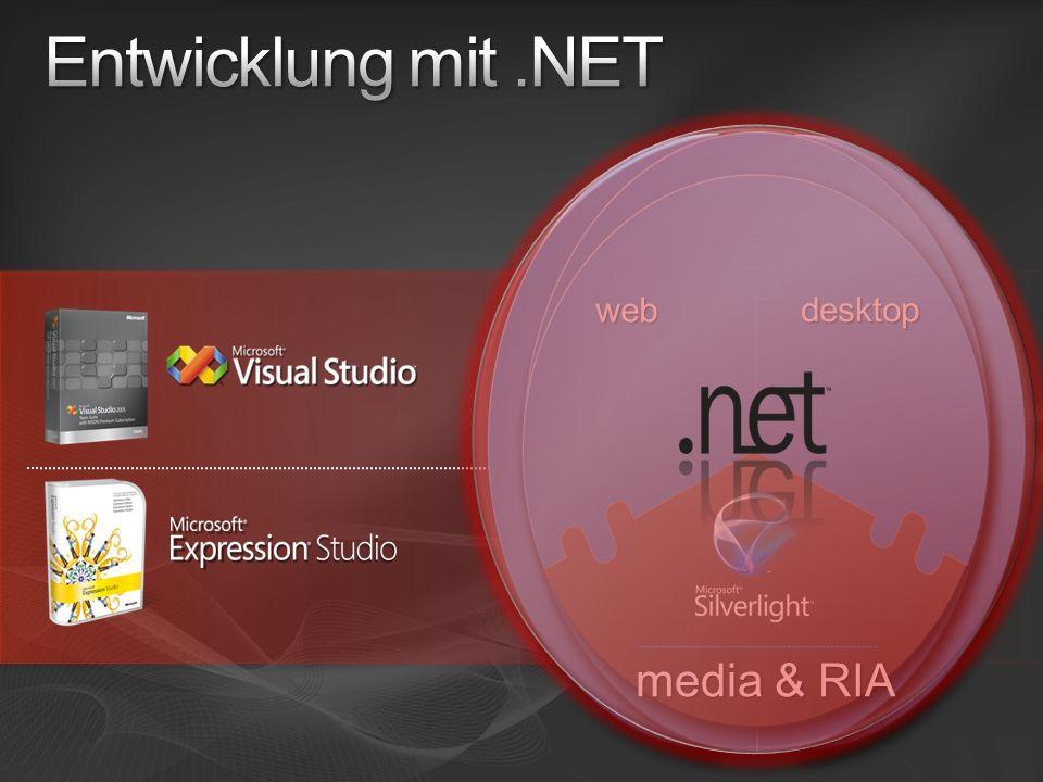 Entwicklung mit .NET media & RIA web web desktop desktop