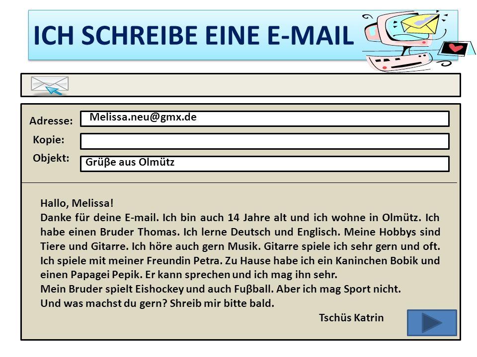ICH SCHREIBE EINE E-MAIL