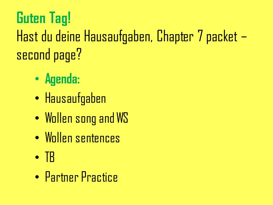 Guten Tag! Hast du deine Hausaufgaben, Chapter 7 packet – second page