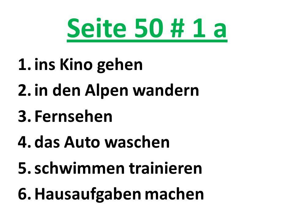 Seite 50 # 1 a ins Kino gehen in den Alpen wandern Fernsehen