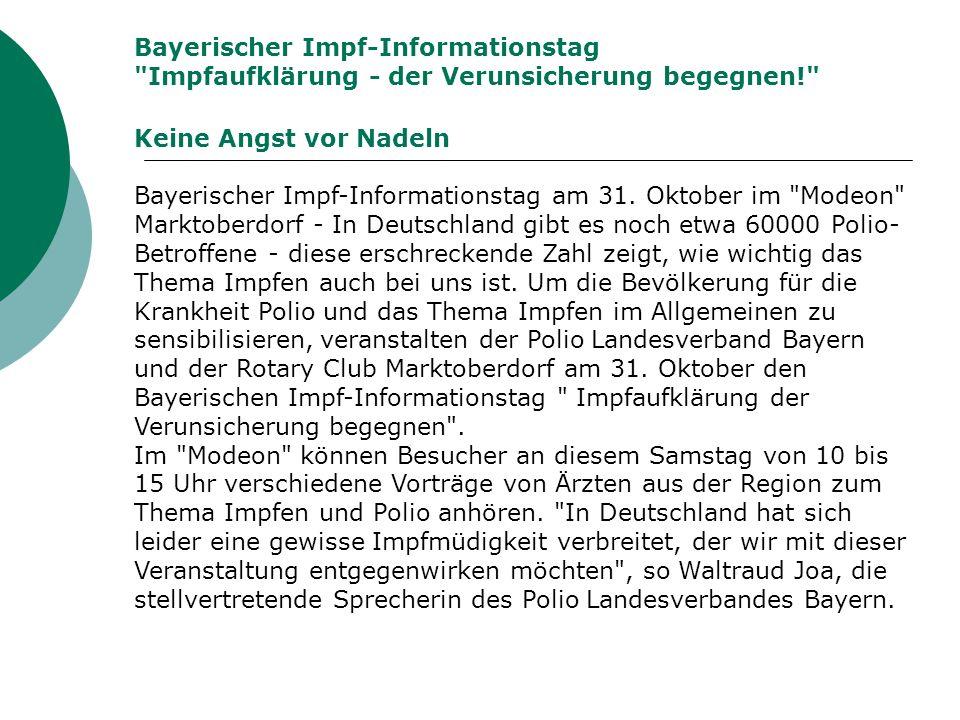 Bayerischer Impf-Informationstag Impfaufklärung - der Verunsicherung begegnen!
