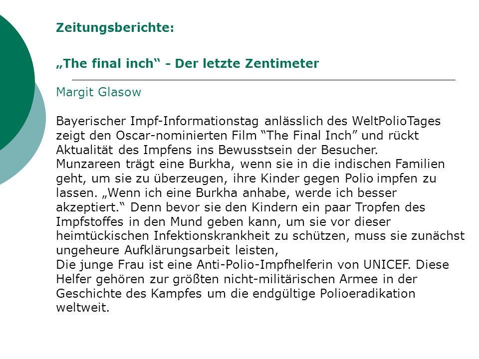 """Zeitungsberichte: """"The final inch - Der letzte Zentimeter. Margit Glasow."""