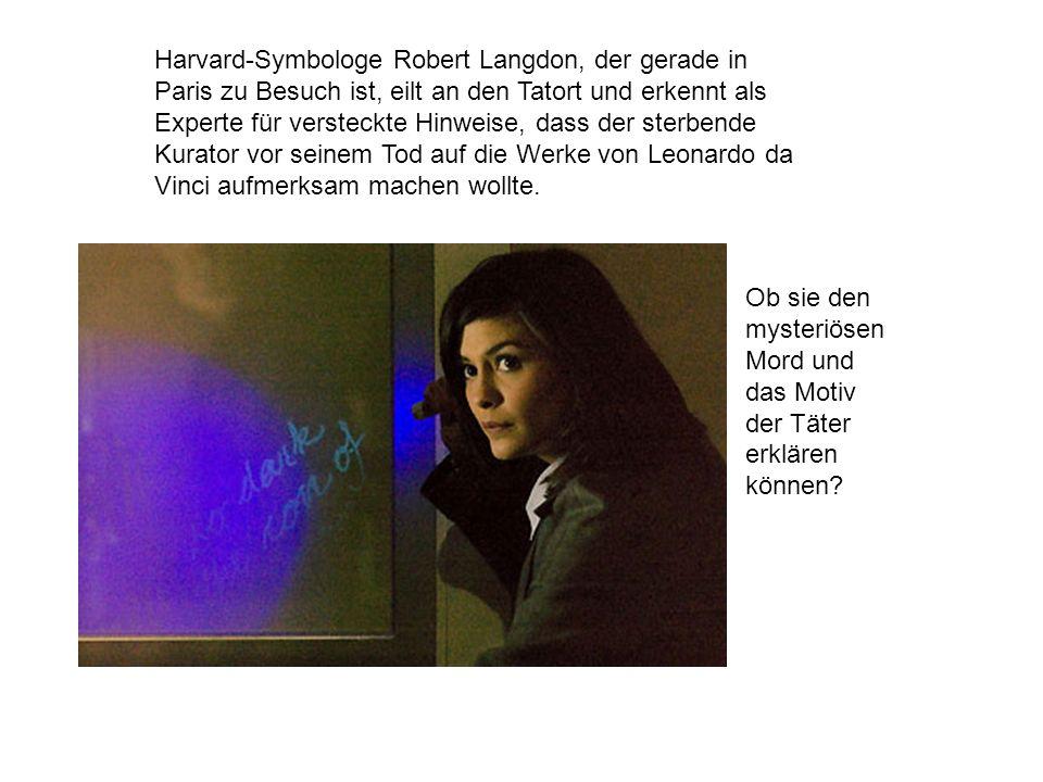 Harvard-Symbologe Robert Langdon, der gerade in Paris zu Besuch ist, eilt an den Tatort und erkennt als Experte für versteckte Hinweise, dass der sterbende Kurator vor seinem Tod auf die Werke von Leonardo da Vinci aufmerksam machen wollte.