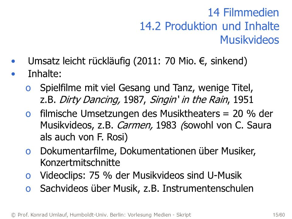 14 Filmmedien 14.2 Produktion und Inhalte Musikvideos