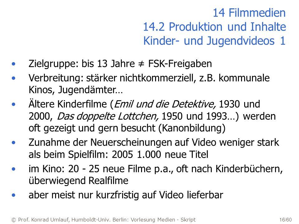 14 Filmmedien 14.2 Produktion und Inhalte Kinder- und Jugendvideos 1