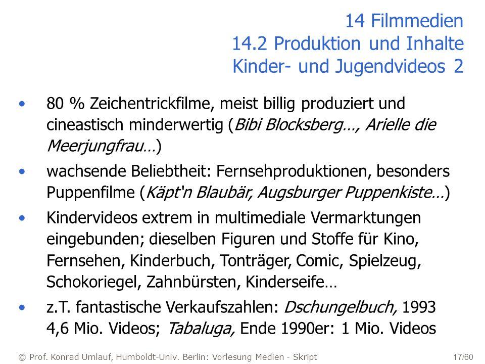 14 Filmmedien 14.2 Produktion und Inhalte Kinder- und Jugendvideos 2