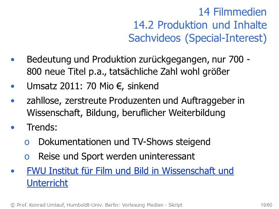 14 Filmmedien 14.2 Produktion und Inhalte Sachvideos (Special-Interest)