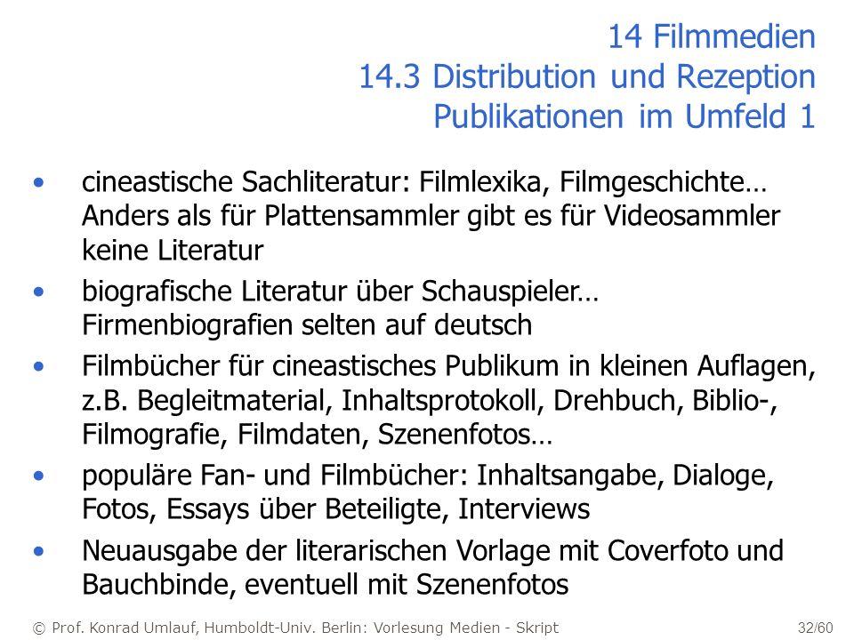 14 Filmmedien 14.3 Distribution und Rezeption Publikationen im Umfeld 1