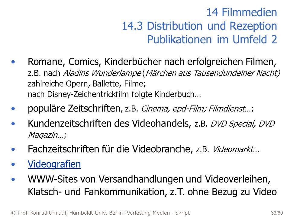 14 Filmmedien 14.3 Distribution und Rezeption Publikationen im Umfeld 2
