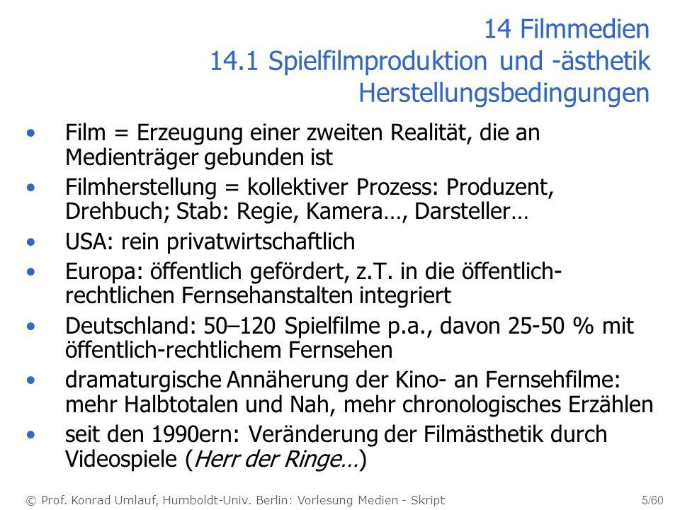 14 Filmmedien 14.1 Spielfilmproduktion und -ästhetik Herstellungsbedingungen