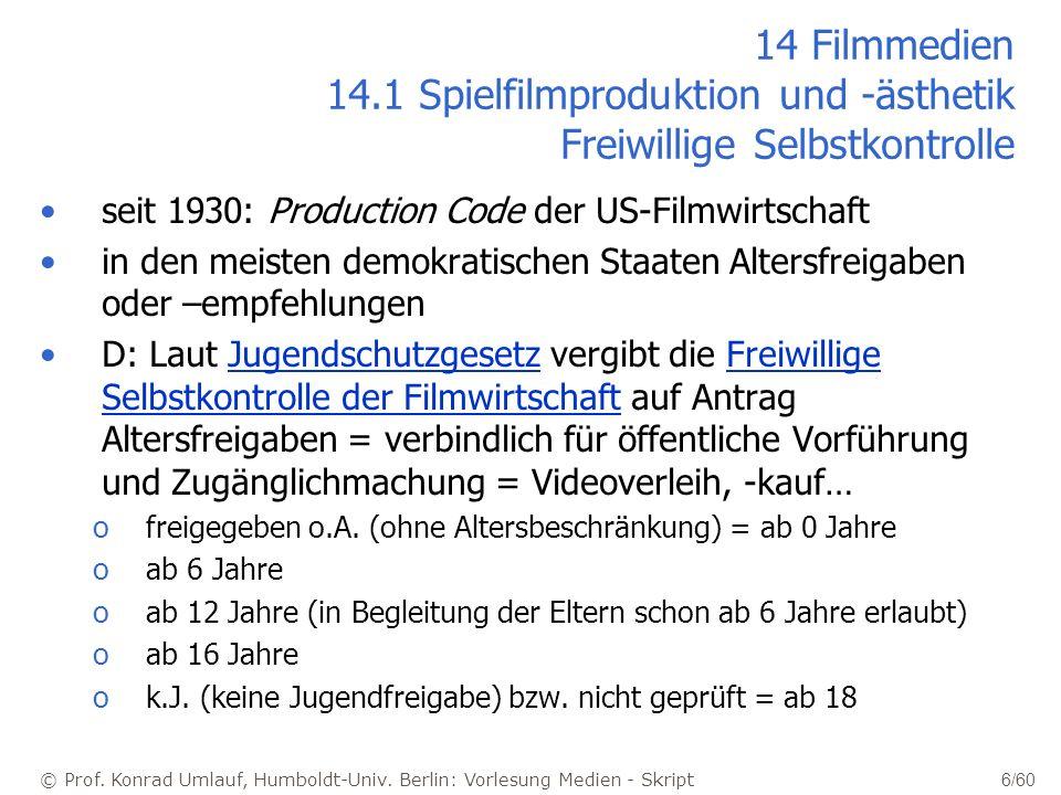 14 Filmmedien 14.1 Spielfilmproduktion und -ästhetik Freiwillige Selbstkontrolle