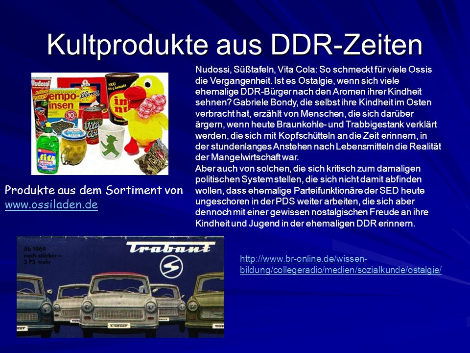 Kultprodukte aus DDR-Zeiten