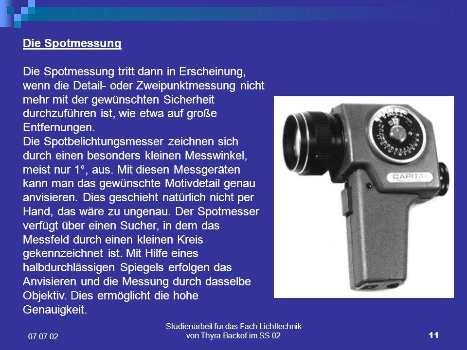 Studienarbeit für das Fach Lichttechnik von Thyra Backof im SS 02