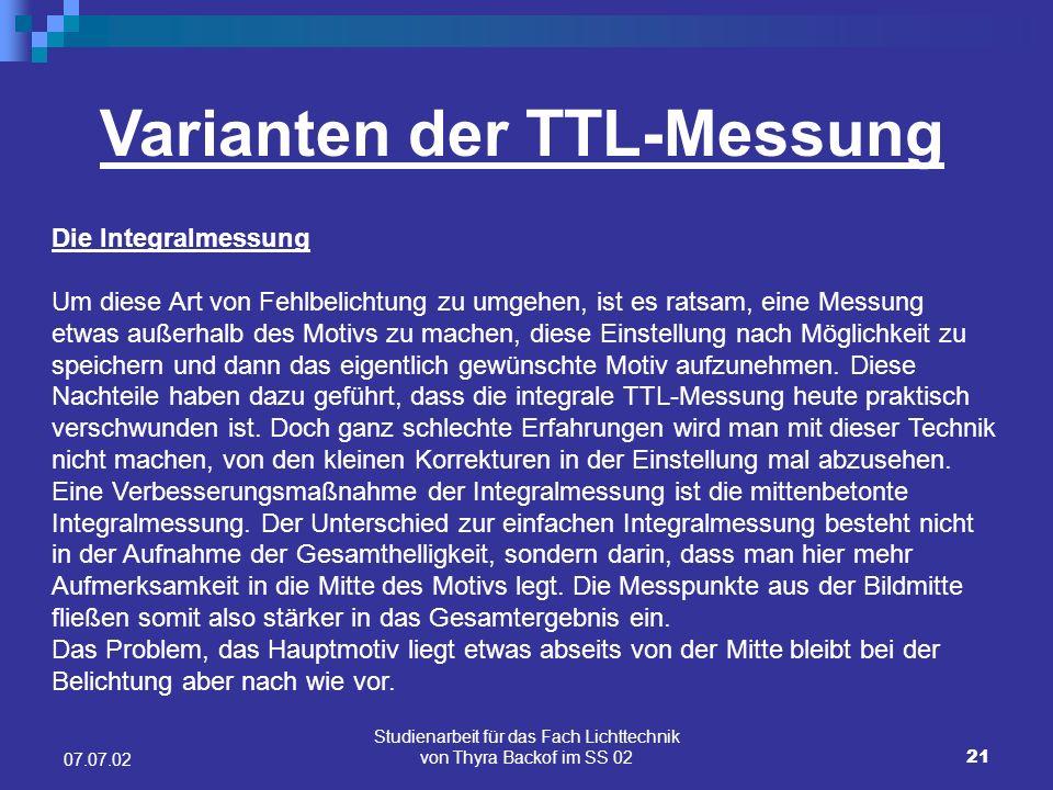Varianten der TTL-Messung