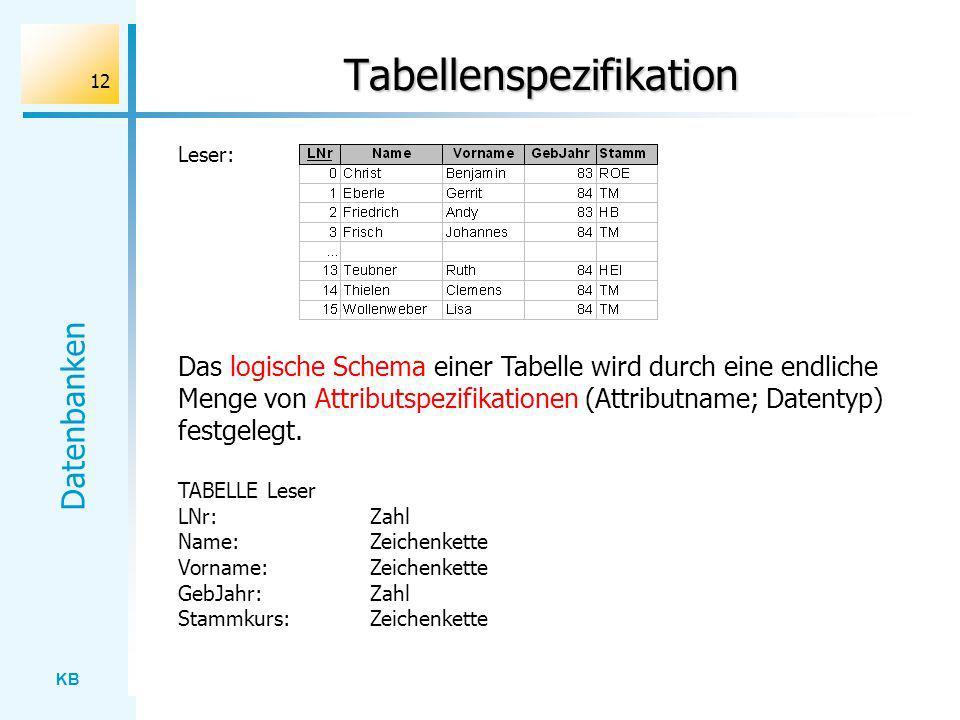 Tabellenspezifikation