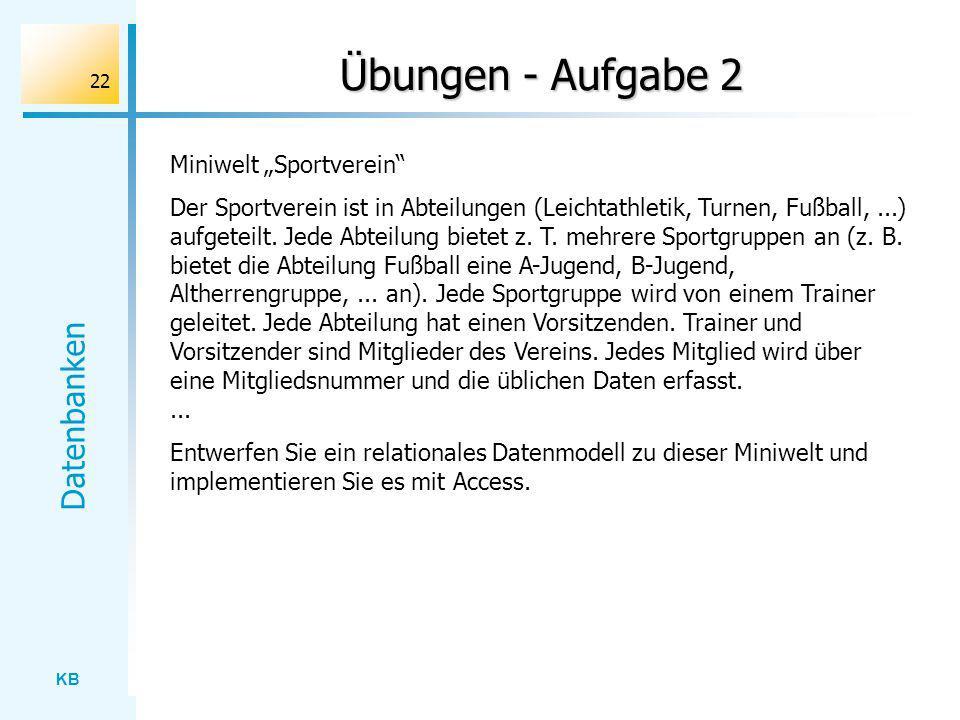 """Übungen - Aufgabe 2 Miniwelt """"Sportverein"""