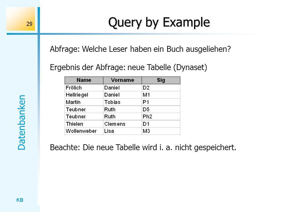 Query by Example Abfrage: Welche Leser haben ein Buch ausgeliehen