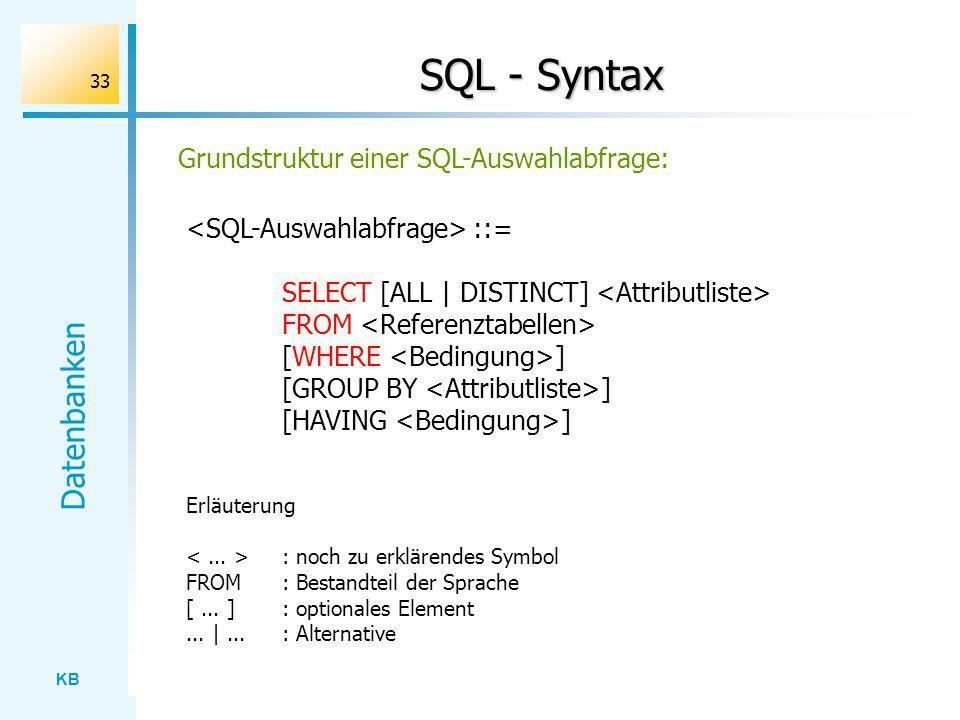 SQL - Syntax Grundstruktur einer SQL-Auswahlabfrage:
