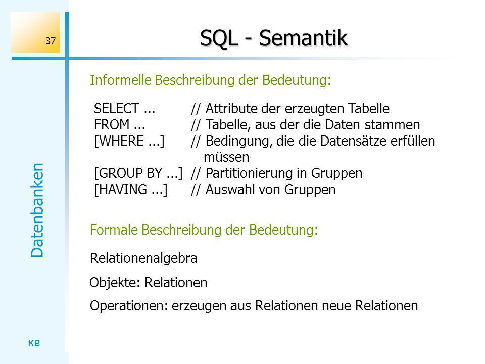 SQL - Semantik Informelle Beschreibung der Bedeutung: