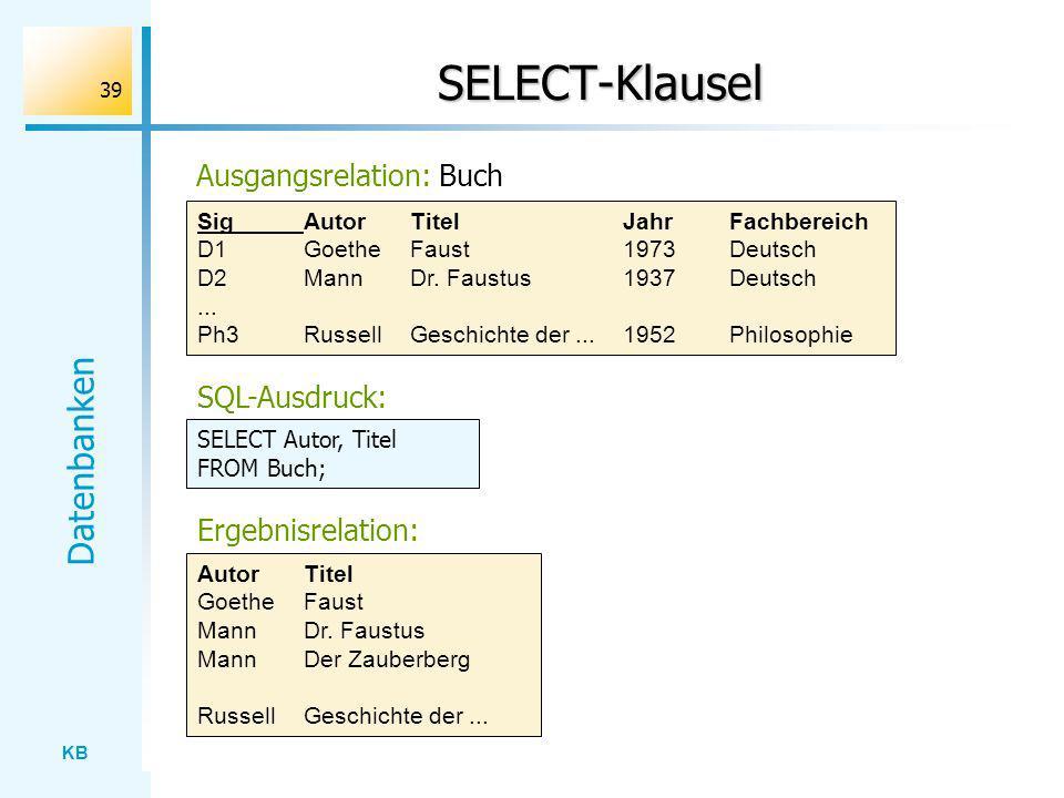 SELECT-Klausel Ausgangsrelation: Buch SQL-Ausdruck: Ergebnisrelation:
