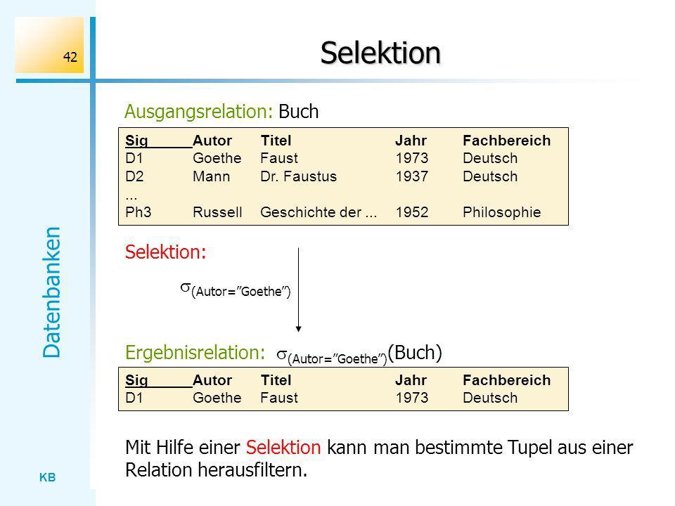 Selektion Ausgangsrelation: Buch Selektion: (Autor= Goethe )