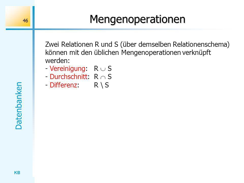 Mengenoperationen Zwei Relationen R und S (über demselben Relationenschema) können mit den üblichen Mengenoperationen verknüpft werden: