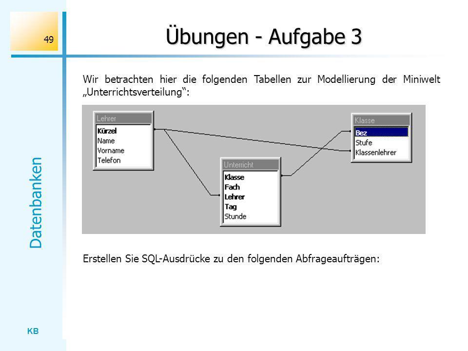 """Übungen - Aufgabe 3 Wir betrachten hier die folgenden Tabellen zur Modellierung der Miniwelt """"Unterrichtsverteilung :"""