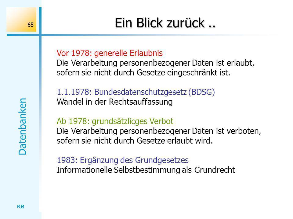 Ein Blick zurück .. Vor 1978: generelle Erlaubnis