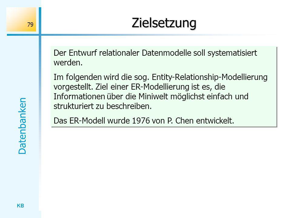 Zielsetzung Der Entwurf relationaler Datenmodelle soll systematisiert werden.