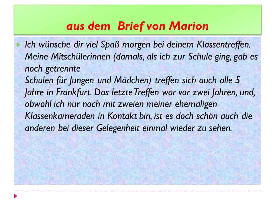 aus dem Brief von Marion