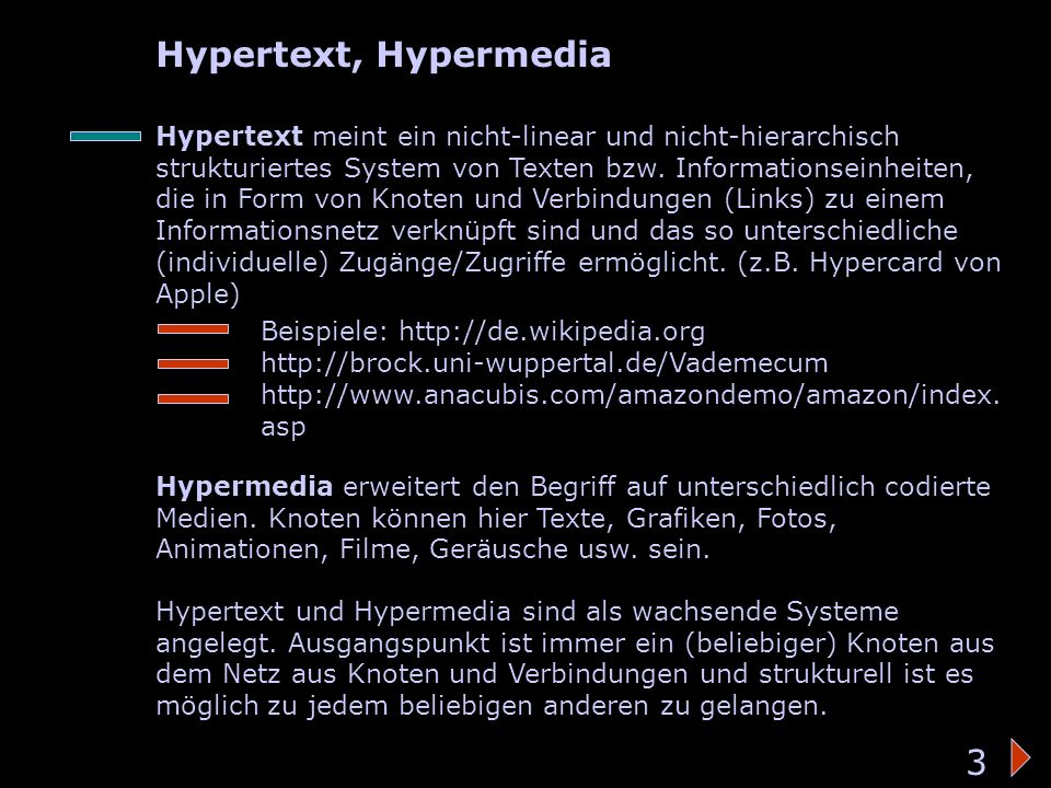 Hypertext/-media Hypertext, Hypermedia 3