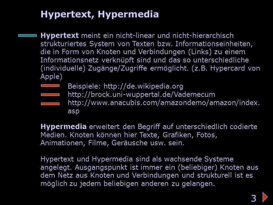 Hypertext/-media Hypertext, Hypermedia 3