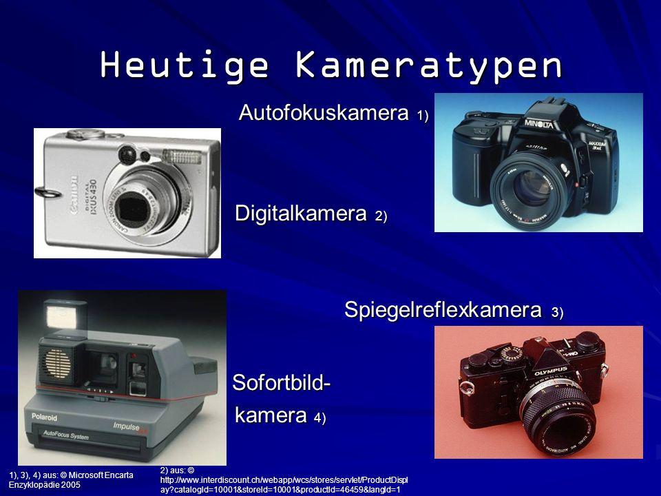 Heutige Kameratypen Autofokuskamera 1) Sofortbild- Digitalkamera 2)