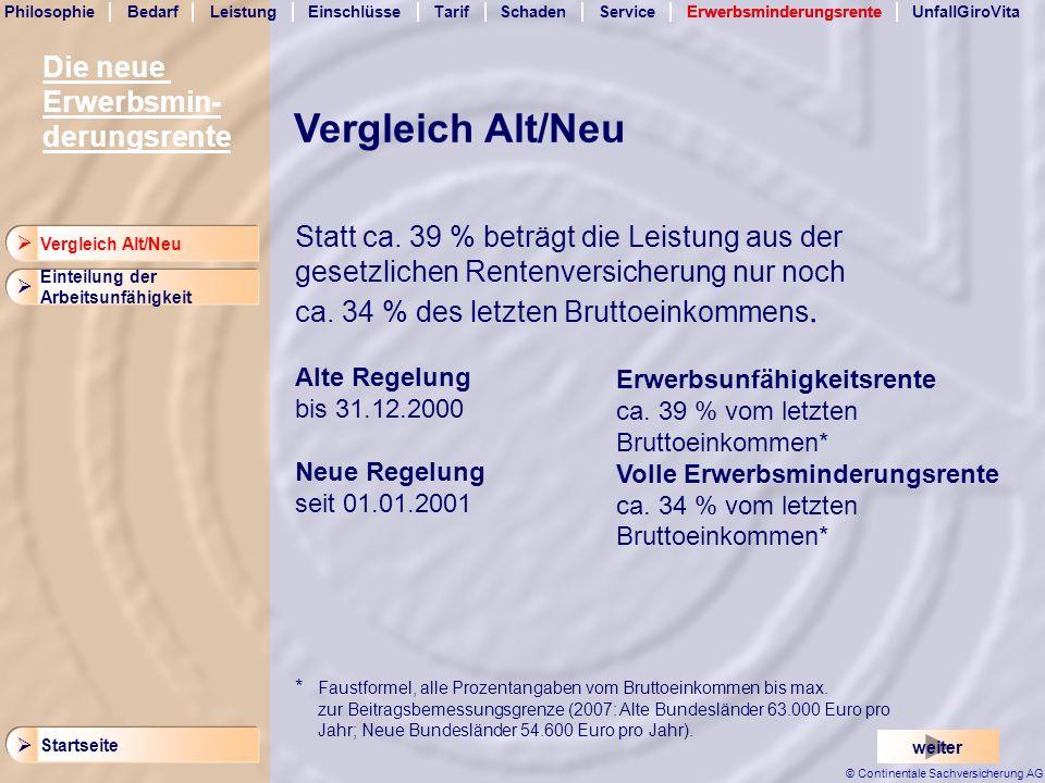Vergleich Alt/Neu Die neue Erwerbsmin- derungsrente