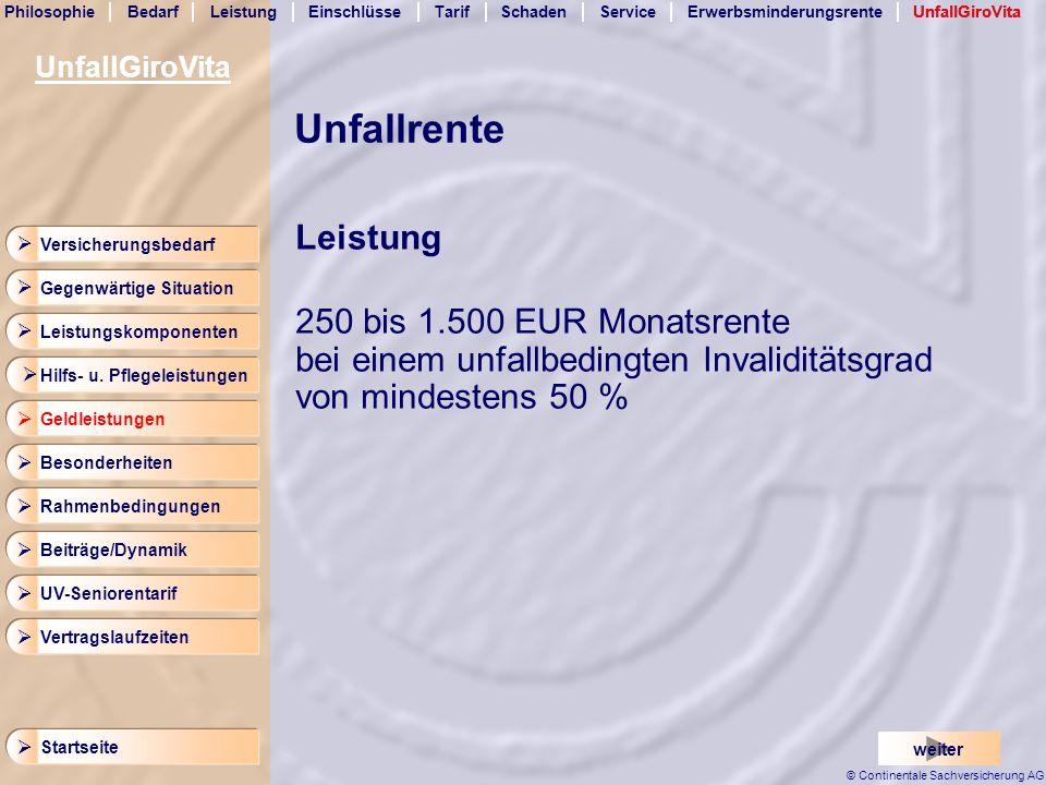 UnfallGiroVita UnfallGiroVita. Unfallrente. Leistung. 250 bis 1.500 EUR Monatsrente bei einem unfallbedingten Invaliditätsgrad von mindestens 50 %