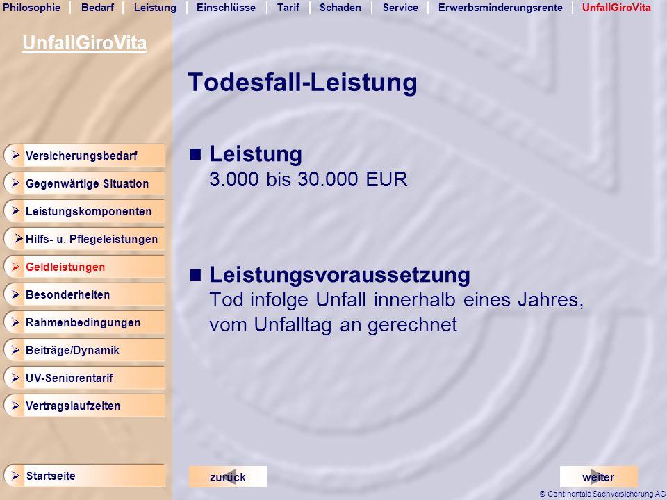 Todesfall-Leistung Leistung 3.000 bis 30.000 EUR