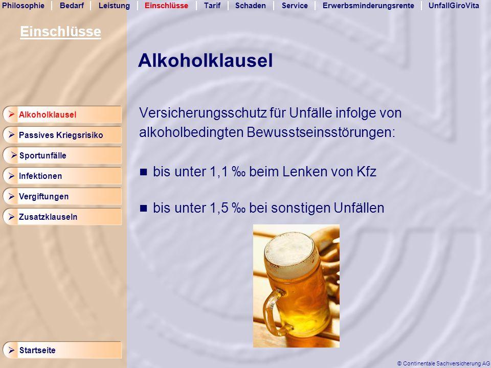 Alkoholklausel Einschlüsse Versicherungsschutz für Unfälle infolge von