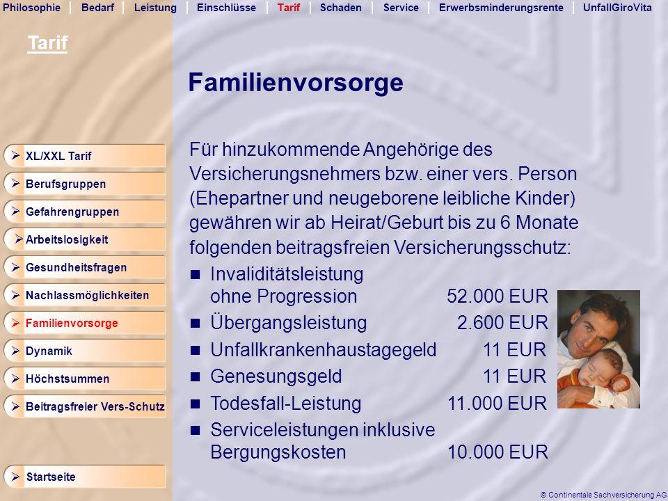 Familienvorsorge Tarif Für hinzukommende Angehörige des