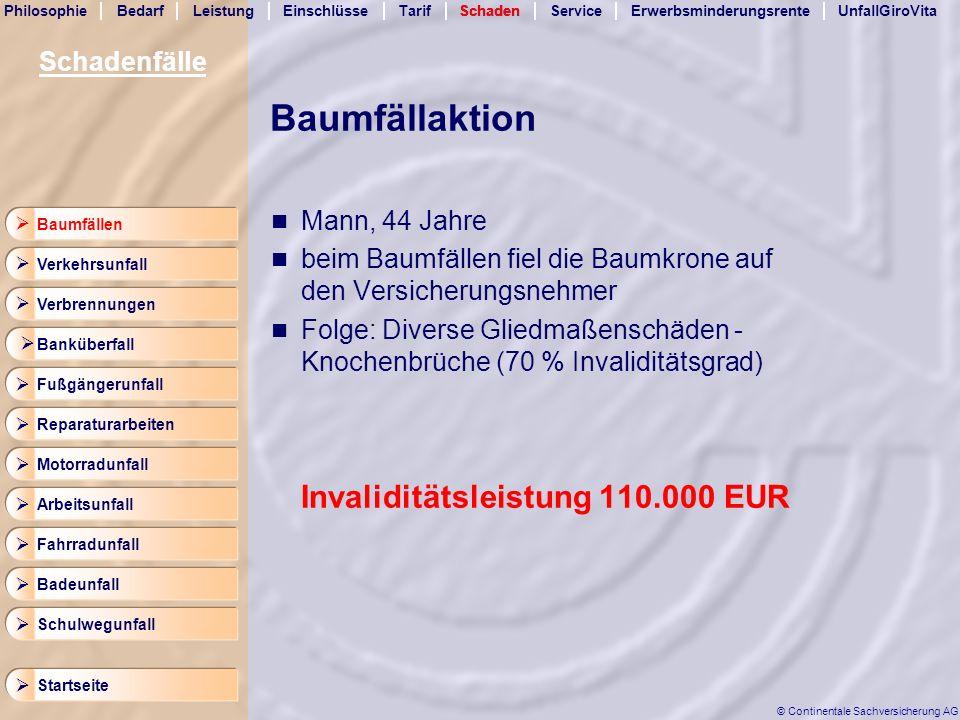 Baumfällaktion Invaliditätsleistung 110.000 EUR Schadenfälle