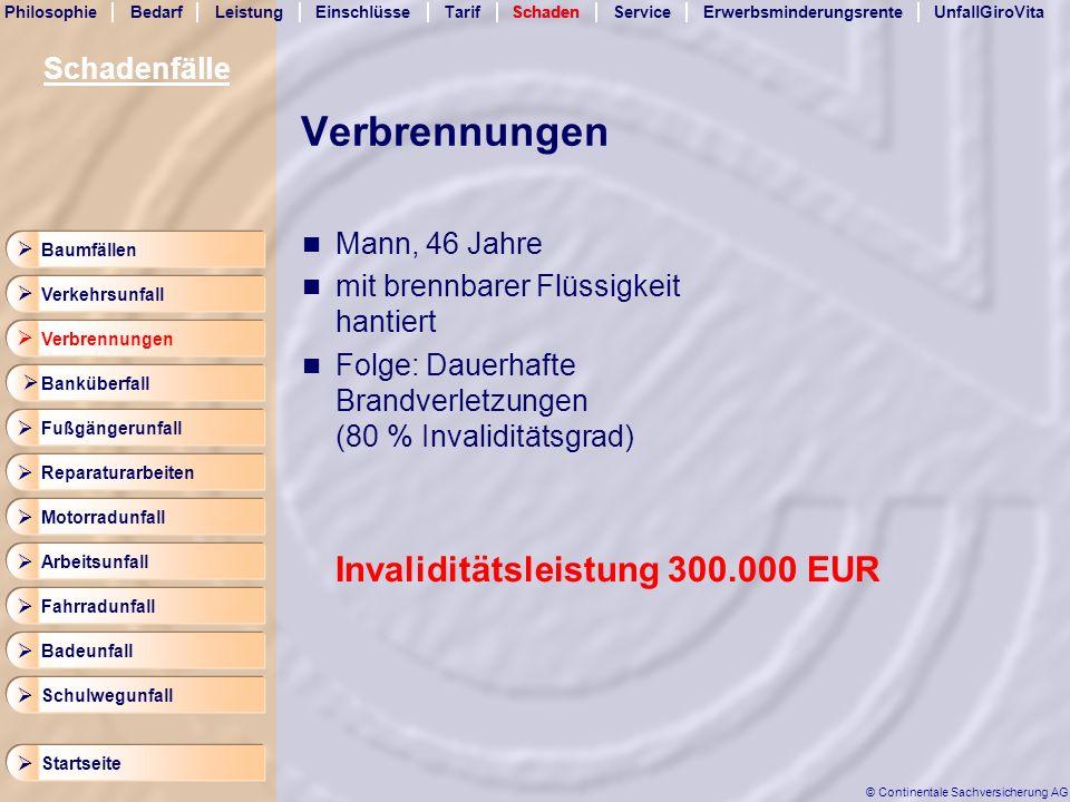 Verbrennungen Invaliditätsleistung 300.000 EUR Schadenfälle