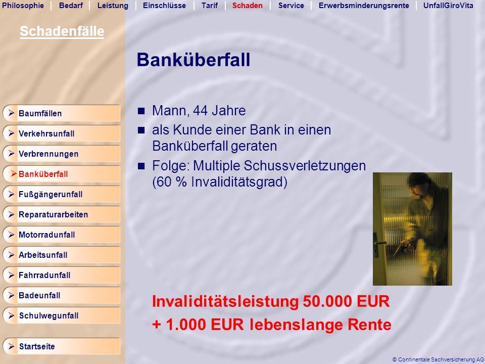 Banküberfall Invaliditätsleistung 50.000 EUR