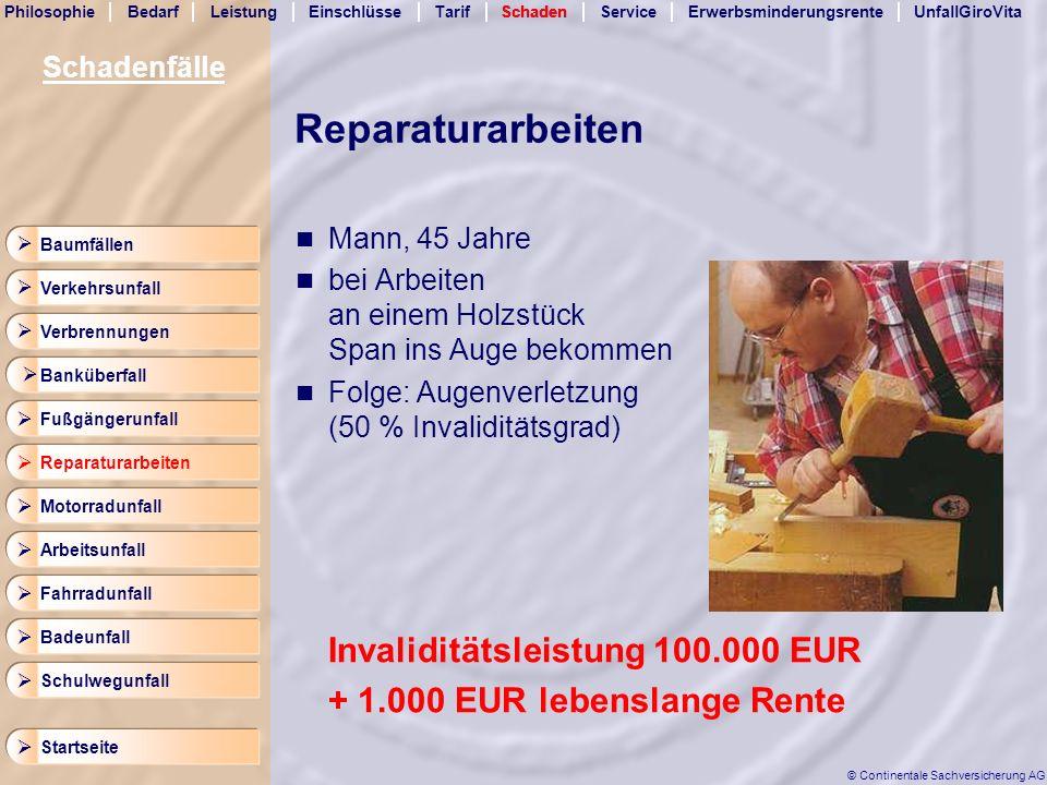 Reparaturarbeiten Invaliditätsleistung 100.000 EUR