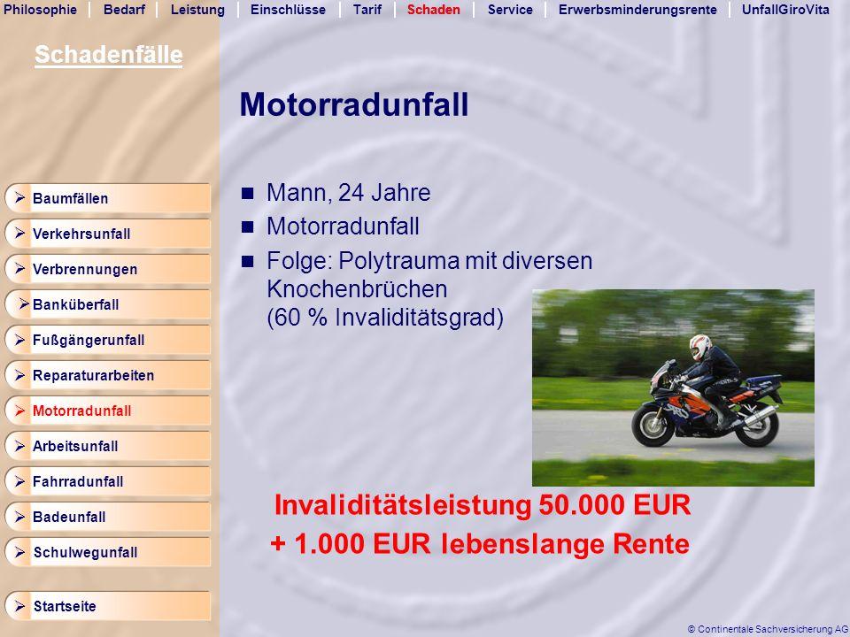 Motorradunfall Invaliditätsleistung 50.000 EUR
