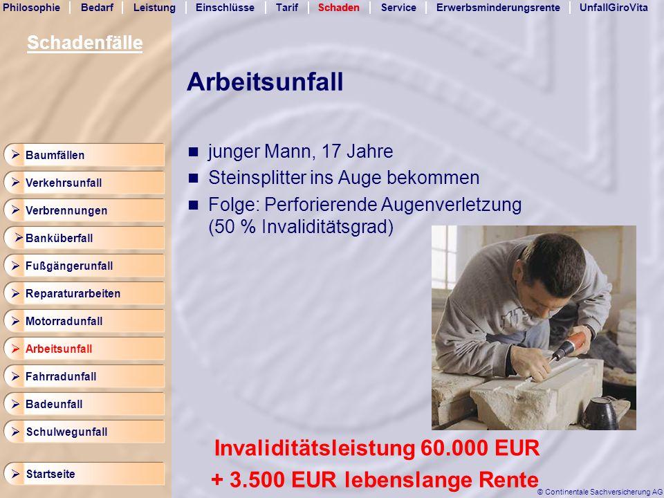 Arbeitsunfall Invaliditätsleistung 60.000 EUR