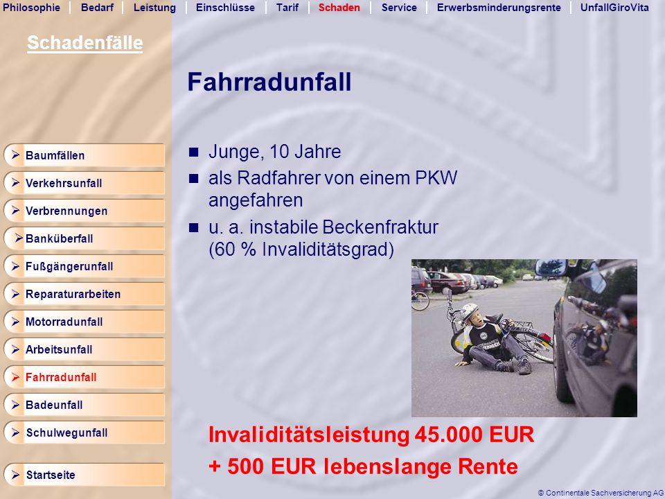Fahrradunfall Invaliditätsleistung 45.000 EUR