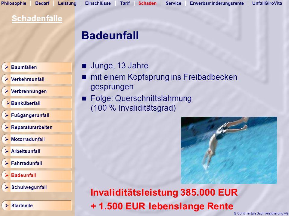 Badeunfall Invaliditätsleistung 385.000 EUR