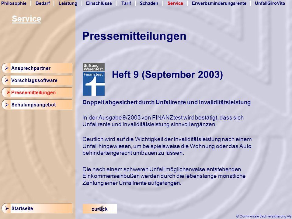 Pressemitteilungen Heft 9 (September 2003) Service  