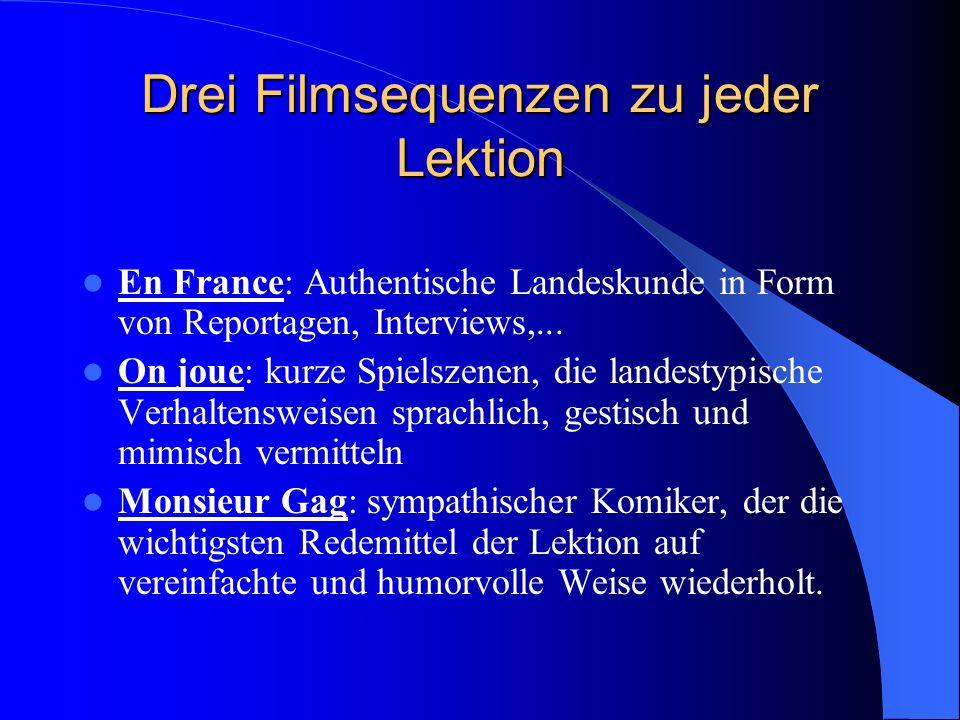 Drei Filmsequenzen zu jeder Lektion