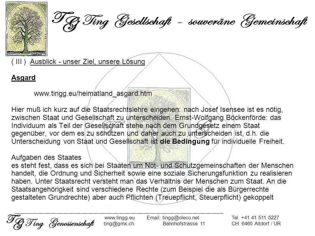 ( III ) Ausblick - unser Ziel, unsere Lösung Asgard. www. tingg