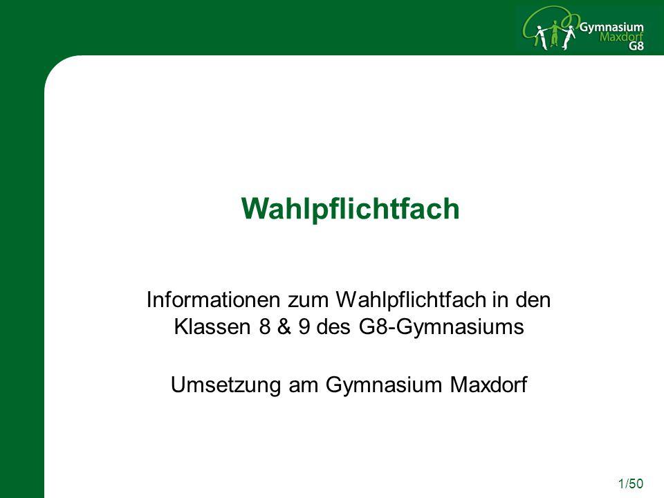 Umsetzung am Gymnasium Maxdorf